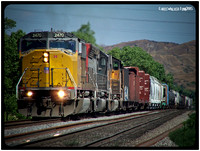 UP 2470 eastbound in San Timeteo Canyon - June 2005